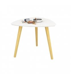 Príručný stolík, biela/drevo natural, TAVAS
