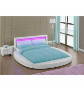 Ultramoderná posteľ s RGB LED osvetlením, biela, 180x200, BLESS