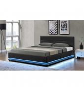 Manželská posteľ s RGB LED osvetlením, čierna, 180x200, BIRGET