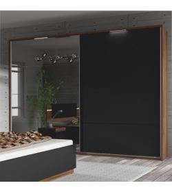 Skriňa s posúvnymi dverami a zrkadlom, orech/čierna, DEGAS