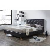 Manželská posteľ, tmavohnedá ekokoža, 180x200, PUFFIE