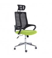 Kancelárske kreslo, sieťovina čierna/zelená, FLORE