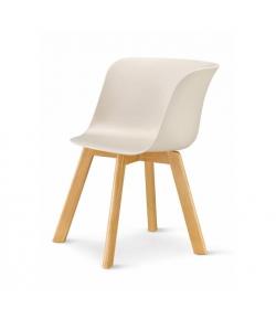 Stolička, béžová/buk, LEVIN