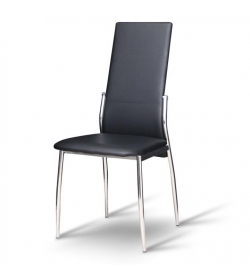 Stolička, ekokoža čierna/chróm, SOLANA