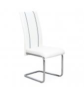 Jedálenská stolička, ekokoža biela, čierna/chróm, LESANA