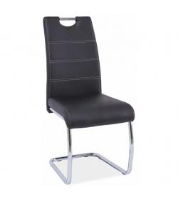 Jedálenská stolička, čierna/svetlé šitie, ABIRA