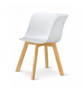 Stolička, biela/buk, LEVIN