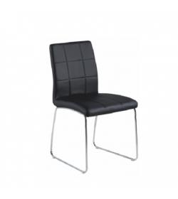 Stolička, čierna textilná koža/chróm, SIDA