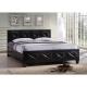Manželská posteľ s roštom, ekokoža čierna, 180x200, CARISA