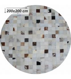 Luxusný koberec, pravá koža, 200x200, KOŽA TYP 10