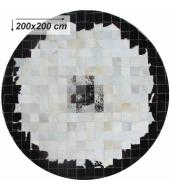 Luxusný koberec, pravá koža, 200x200, KOŽA TYP 9