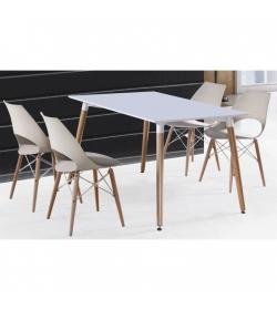 Jedálenský stôl. biela+buk, DIDIER