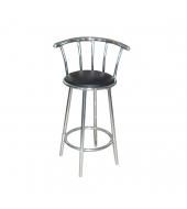 Barová stolička, ekokoža čierna/chróm, MERCIE