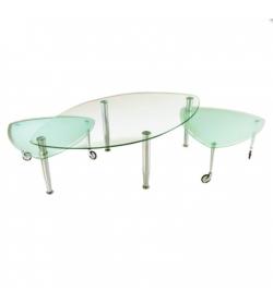 Konferenčný stolík, chróm/sklo, RALF