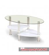 Konferenčný stolík, oceľ/sklo/biela extra vysoký lesk HG, AXEL