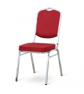 Stolička, stohovateľná, látka červená/chrómový rám, LEJLA