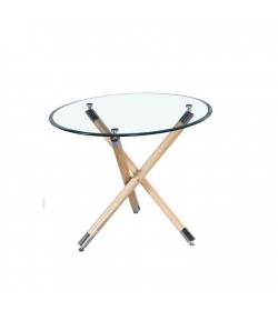 Jedálenský stôl. sklo+buk, ROBSON