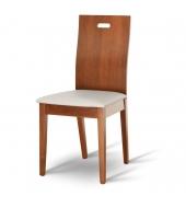 Drevená stolička, čerešňa/ekokoža biela, ABRIL
