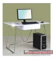 PC stôl, biela extra vysoký lesk HG, EDGAR