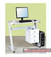 PC stôl, biela extra vysoký lesk HG, RUBUS