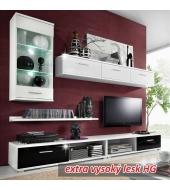 Obývacia stena biela/cierny vysoky lesk, MULIBU OS
