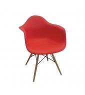 Stolička - kreslo, červená+buk, DAMEN
