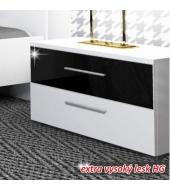 Nočný stolík, biela/čierny lesk HG, DEVON