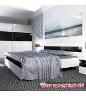Posteľ 160x200, biela/čierny lesk HG, DEVON