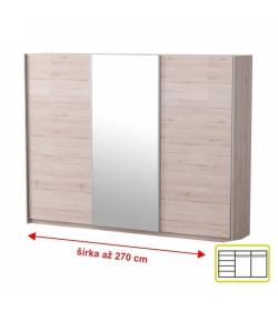 Skriňa trojdverová so zrkadlom, dub san remo/biela, MIRAN