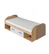 Posteľ s úložným priestorom a rolovaným roštom, san reno/biela/capucino, KATAR K14