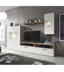 Obývacia stena, dub sonoma/biela, FEITH
