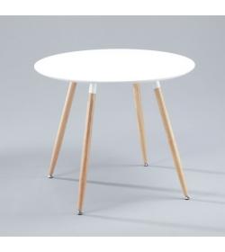 Jedálenský stôl, drevo + MDF, biela , MASINA