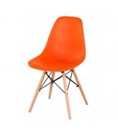 Stolička, oranžová + buk, Cinkla New