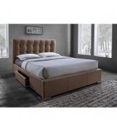 Manželská posteľ s roštom, 160x200, hnedá látka, SAMAEL