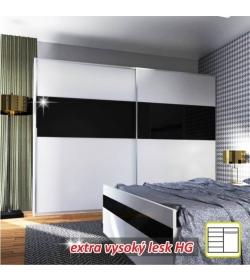 Skriňa s posúvnymi dverami, kombinovaná, biela/čierny lesk DEVON