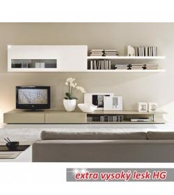 Obývacia stena, bielo / svetlé capucino extra vysoký lesk HG, DONATELA