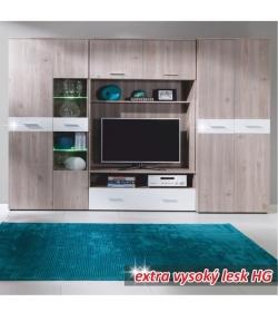 Obývacia stena, dub nelson-san marino/biela extra vysoký lesk, TELSON