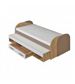 Posteľ s prístelkou, úložným priestorom a 2x rolovaným roštom, san reno/biela/capucino, KATAR K15