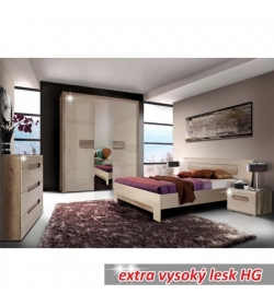 Spálňa, skriňa+posteľ+2ks nočné stolíky, MDF fóliovaná, dub antický/bežová vysoký lesk HG, TRIZTAN
