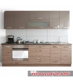 Moderná kuchynská zostava za fantastickú cenu do každej kuchyne v prevedení dub san marino/latte vysoký lesk HG - ELYRA