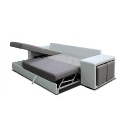 Thema lux, ľavý roh L+2F - Bronco 800 biely/Inari 91 svetlosivá