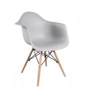 Stolička - kreslo, sivá+buk, DAMEN