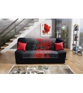 Finka 3R, pohovka - Alova čierna/kvet červený