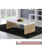 Konferenčný stolík, dub sonoma/biela extra vysoký lesk HG, KONTEX