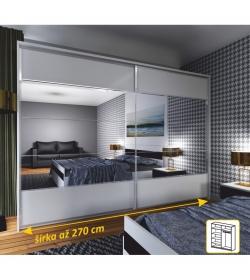 Zrkadlová skriňa 2 - dverová, biela / zrkadlo, NARINA