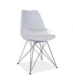 Stolička, biela+chróm, METAL