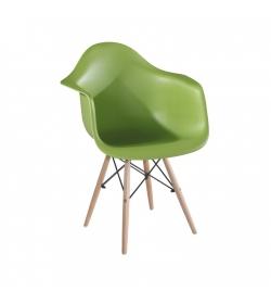Stolička - kreslo, zelená+buk, DAMEN