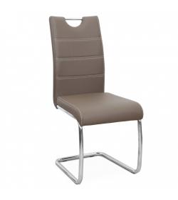 Jedálenská stolička, ekokoža hnedá/chróm, ABIRA