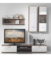 Obývacia stena, dub truflový/biela, WAW
