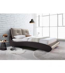 Manželská posteľ, s roštom, ekokoža hnedá/capuccino, 160x200, ARGOS
